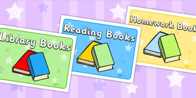 Various Books Display Signs - reading, read, books, sign, labels