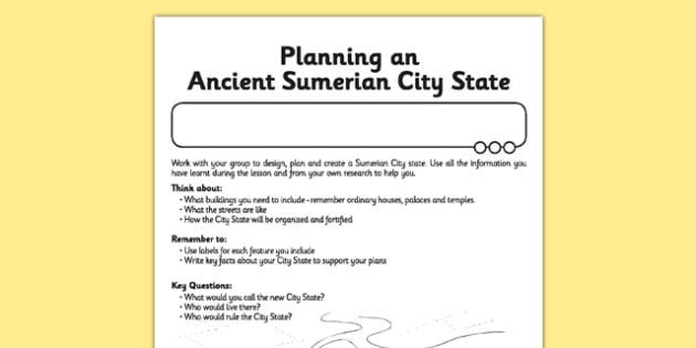 Ancient Sumer Planning a City State Activity - ancient sumer, planning a city state, activity