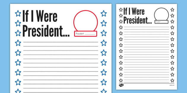If I Were President Writing Prompt - usa, presidents day, celebration, federal, writing prompt