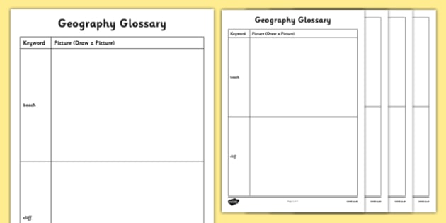 Physical Geography KS1 Picture Glossary Activity