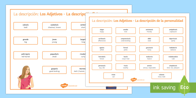 Adjectives for Physical Description and Personality Word Mat Spanish Translation - spanish, adjectives, physical description, personality, word mat