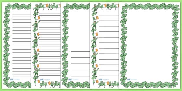 St Patricks Day A4 Page Borders - St Patricks Day, page border, border, writing template, writing aid, writing, Ireland, Irish, St Patrick, patron saint, leprechaun, 17 march