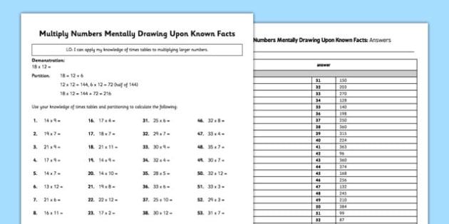 Multiply Numbers Mentally Drawing Upon Known Facts Activity Sheet Pack - numbers, facts, activity, worksheet