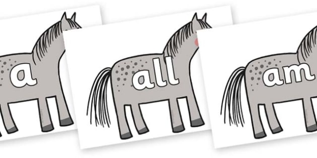 Foundation Stage 2 Keywords on Horse to Support Teaching on What the Ladybird Heard - FS2, CLL, keywords, Communication language and literacy,  Display, Key words, high frequency words, foundation stage literacy, DfES Letters and Sounds, Letters and