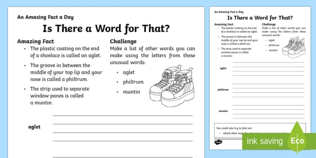 Is There a Word for That? Activity Sheet