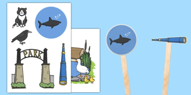 Is That a Shark? Stick Puppets - shark in the park, sharks, telescope, guessing, rhyme, rhyming, puppets, act, retell, role play, theatre, puppet, show