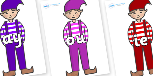 Phase 5 Phonemes on Elf (Boy) - Phonemes, phoneme, Phase 5, Phase five, Foundation, Literacy, Letters and Sounds, DfES, display