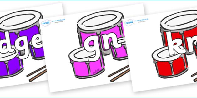 Silent Letters on Drums - Silent Letters, silent letter, letter blend, consonant, consonants, digraph, trigraph, A-Z letters, literacy, alphabet, letters, alternative sounds