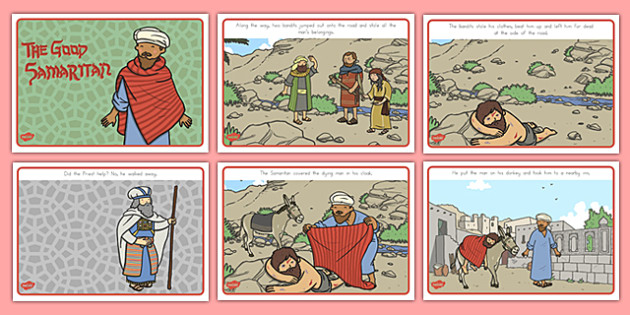 The Good Samaritan Story Sequencing - usa, the good samaritan, help, helping, jewish, thieves, visual aid, bible story, Jesus, priest, Levite, good samartian