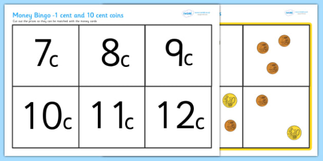 Euro Money Bingo 1c And 10c Coins - money, currency, games, lotto
