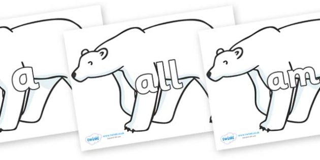 Foundation Stage 2 Keywords on Polar Bears - FS2, CLL, keywords, Communication language and literacy,  Display, Key words, high frequency words, foundation stage literacy, DfES Letters and Sounds, Letters and Sounds, spelling