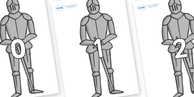 Numbers 0-31 on Suits of Armour - 0-31, foundation stage numeracy, Number recognition, Number flashcards, counting, number frieze, Display numbers, number posters