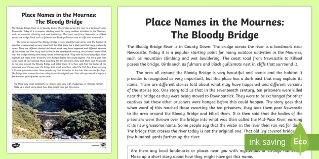 Place Names in the Mournes: The Bloody Bridge Story - World Around Us, Mourne Mountains, County Down, Northern Ireland, local, history