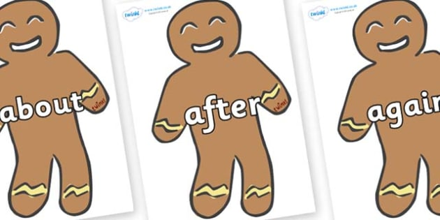 KS1 Keywords on Gingerbread Man - KS1, CLL, Communication language and literacy, Display, Key words, high frequency words, foundation stage literacy, DfES Letters and Sounds, Letters and Sounds, spelling