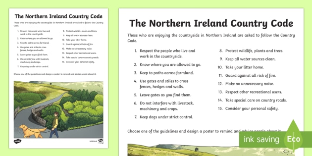 The Northern Ireland Country Code Activity Sheet - World Around Us, Northern Ireland, country code, environment, Mourne Mountains, wildlife, worksheet