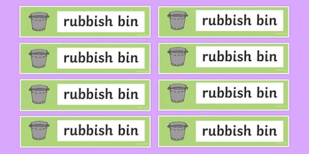 Rubbish Bin Labels