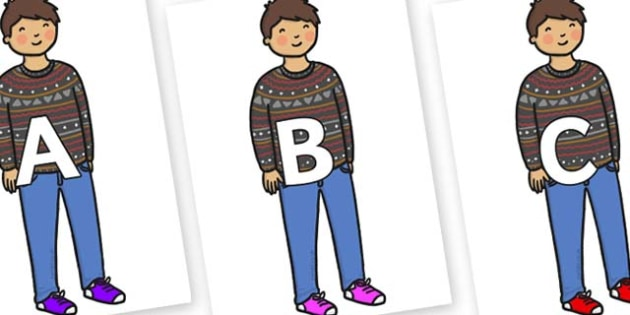 A-Z Alphabet on Little Boy - A-Z, A4, display, Alphabet frieze, Display letters, Letter posters, A-Z letters, Alphabet flashcards