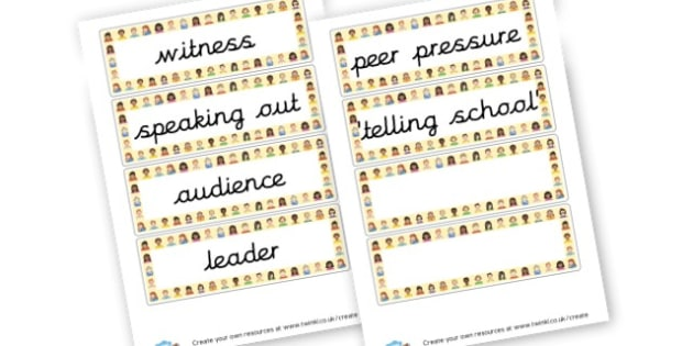 SEAL Say No to Bullying Vocab Cards Years 3 and 4 - PSHE SEAL Primary Resources -  Primary Resources, PSHE, Personal