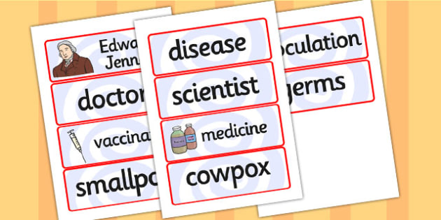 Edward Jenner Word Cards - edward jenner, word cards, topic cards, themed word cards, themed topic cards, key words, key word cards, keyword, writing aid