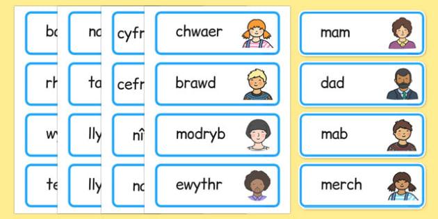 fy nheulu Word Cards Cymraeg - cymraeg, welsh, my family, word cards, word, cards