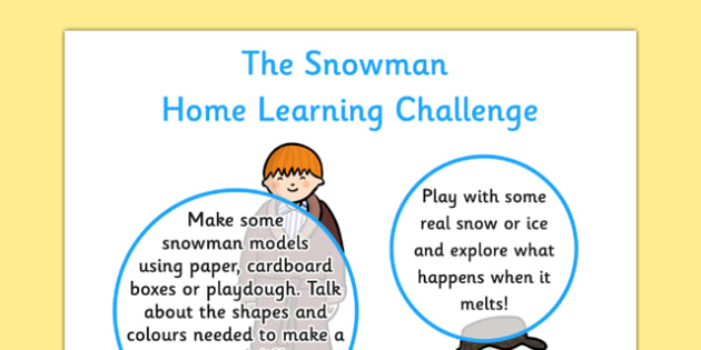 EYFS Home Learning Challenge Sheet Nursery FS1 to Support Teaching on The Snowman - EYFS planning, early years activities, The Snowman, Raymond Briggs, homework