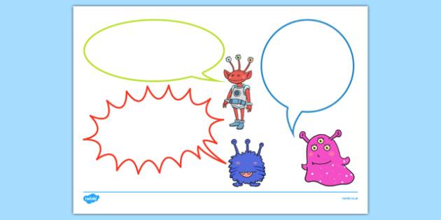 Alien Themed Speech Bubbles - EYFS, early years, Space, planets, aliens, the moon, rockets, spaceships, observations, speech bubbles
