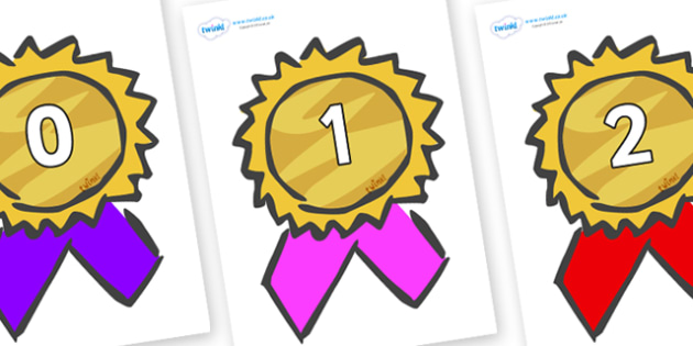 Numbers 0-31 on Award Rosettes - 0-31, foundation stage numeracy, Number recognition, Number flashcards, counting, number frieze, Display numbers, number posters