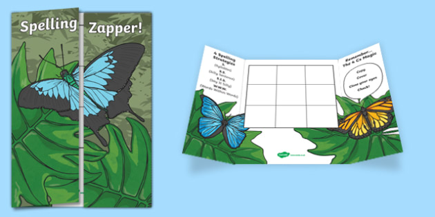 Butterfly Themed Blank Spelling Zapper - spelling zapper, spell, spelling, zapper, dyslexic, dyslexia, learn, tricky words, personalise, words, blank, butterfly