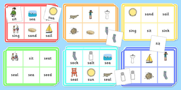 Initial s Sound Bingo and Lotto Game - initial sounds, s sound