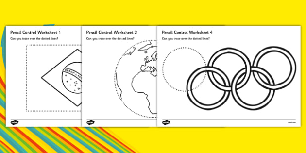 Rio Olympics 2016 Pencil Control Worksheets - rio 2016, rio olympics, rio olympics 2016, 2016 olympics, pencil control, worksheets