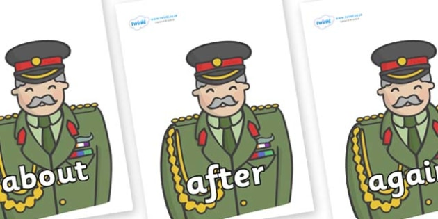 KS1 Keywords on Officers - KS1, CLL, Communication language and literacy, Display, Key words, high frequency words, foundation stage literacy, DfES Letters and Sounds, Letters and Sounds, spelling