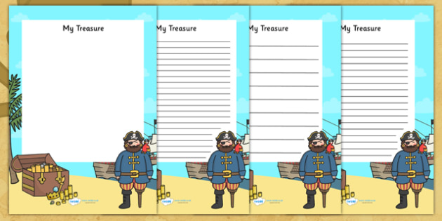 My Treasure Pirate Writing Frame - pirate writing frame, pirate writing activitiy, pirates, my treasure writing frame, my treasure, pirate theme frame
