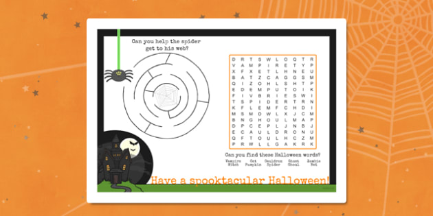Halloween Party Place Activity Mat - halloween, party, activity