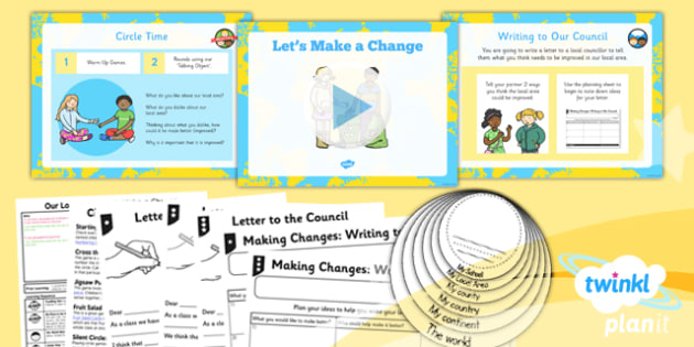 PlanIt - Geography Year 1 - Our Local Area Lesson 6: Lets Make a Change Lesson Pack