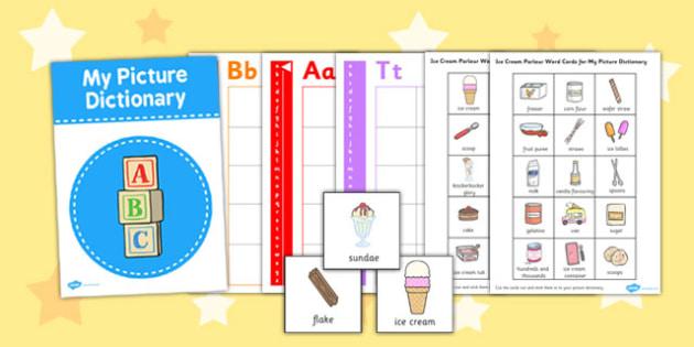 Ice Cream Parlour Picture Dictionary Word Cards - ice cream