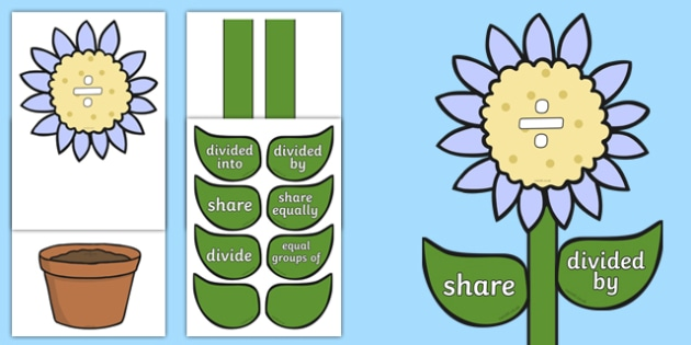 Maths Division Vocabulary Flower Display - maths, division, vocabulary, flower, display