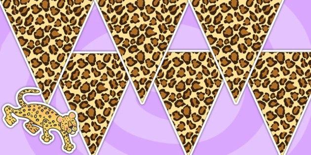 Leopard Pattern Bunting - leopard, animals, jungle, bunting, flag