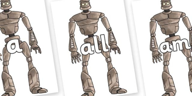 Foundation Stage 2 Keywords on The Iron Man - FS2, CLL, keywords, Communication language and literacy,  Display, Key words, high frequency words, foundation stage literacy, DfES Letters and Sounds, Letters and Sounds, spelling