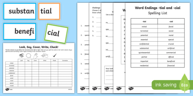 Words ending in 'cial' and 'tial' Spelling List and Activity Sheet Pack, worksheet