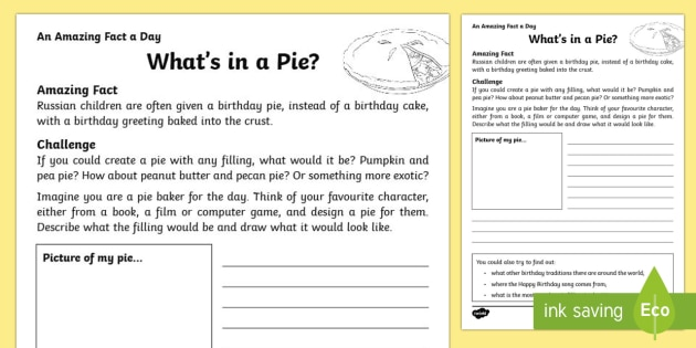 What's in a Pie? Activity Sheet