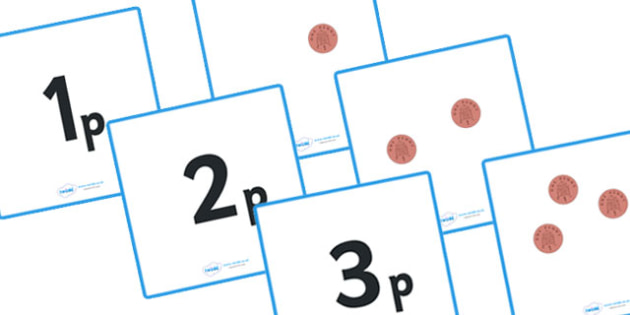 Money Matching Cards (1p to 10p) - education, home school, free