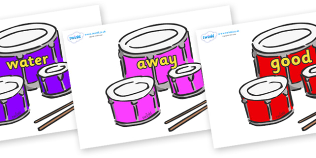 Next 200 Common Words on Drums - Next 200 Common Words on  - DfES Letters and Sounds, Letters and Sounds, Letters and sounds words, Common words, 200 common words