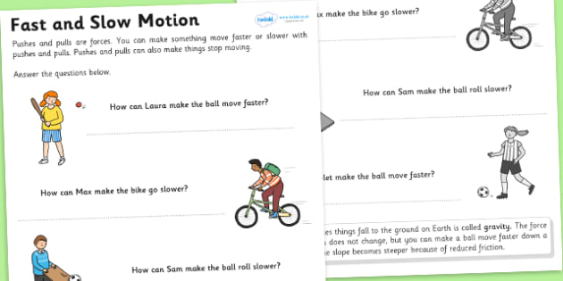 Faster and Slower Worksheet - fast and slow, faster and slower, forces and motion, friction and resistance, how to make things move faster or slower, ks2