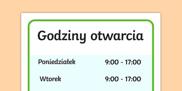 Godziny otwarcia Sklep ekologiczny po polsku