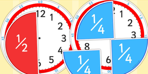Fractions of Time Teaching Activity - fractions, time, clock