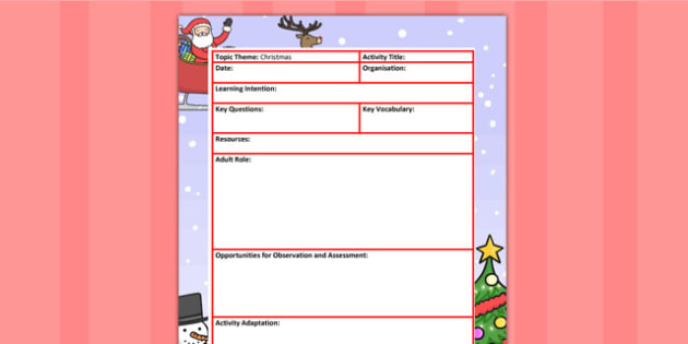Christmas Themed Adult Led Focus Planning Template - winter, plan