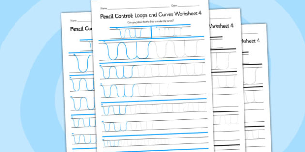 Pencil Control Loops And Curves Worksheet 4 - pencil control