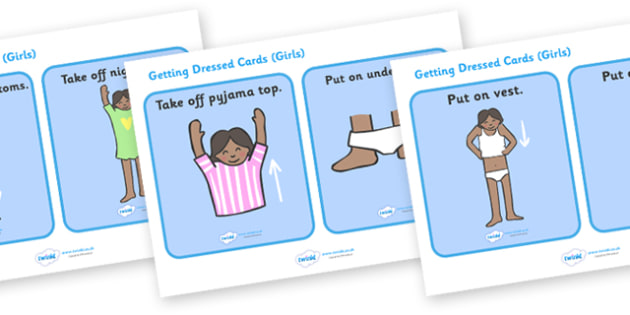 Getting Dressed Routine Cards (Girls) - daily routine, education, home school, child development, children activities, free, kids, children behaviour, behavior children