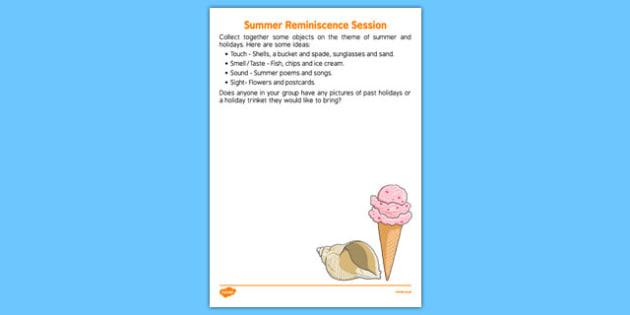 Elderly Care Summer Reminiscence Session - Elderly, Reminiscence, Care Homes, Summer