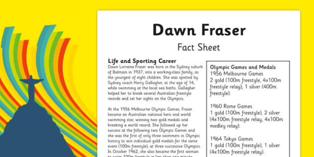 Australian Olympic Athletes Fact Sheet Dawn Fraser - Australia, Olympic Games, Olympics, Paralympics, Athletes, Information, Fact Sheet, Reading Comprehension, Year 6 History